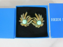 Heidi Daus Sublime Star Pair of Pave Crystal Clip-on earrings Turquoise - $49.49