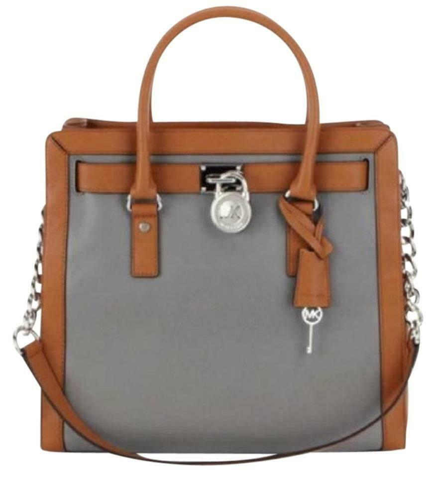 b99fafc695bd61 MICHAEL KORS HAMILTON LARGE FRAME OUT STEEL GREY BROWN SILVER BAG TOTE $348  NWT!