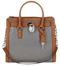 Michael Kors Hamilton Large Frame Out Steel Grey Brown Silver Bag Tote $348 Nwt! - $248.00