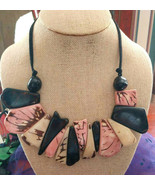 TAGUA NUT BY SORAYA CEDENO FAIR TRADE SUSTAINABLE PINK, BEIGE &  BLACK NECKLACE - $28.70