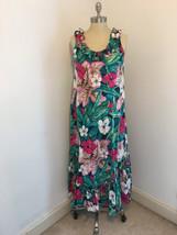 Hilo Hattie S Small Pink Green Tropical Floral Hawaiian Ruffle Maxi Dress Vtg - $28.99