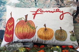 "Pottery Barn ""Family"" Pumpkin Lumbar Pillow Cover -NWT- Enjoy GOURD-GEOUS Whimsy - $59.95"