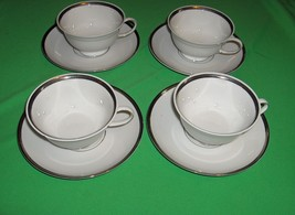 4 Rosenthal Nobility China Cup Sets Germany White Platinum Silver Band - $44.55