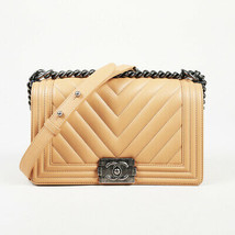 "Chanel 2016 Chevron Lambskin Leather Small ""Boy Flap"" Bag - £2,654.21 GBP"