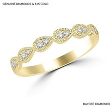 0.20 Carat Genuine Diamond Stackable Band in 14k Solid Yellow Gold