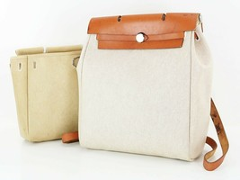 Authentic HERMES Her Bag 2 in 1 Beige Canvas Backpack Hand Bag Purse #34387 - $459.00
