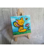 Sweet Bee - A yellow cat fairy and his friend (Mini acrylic painting w/... - $23.00