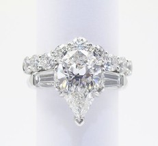 Certified 3.50Ct Pear Cut Diamond Engagement Wedding Ring Set in 14k Whi... - $328.33
