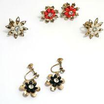 Three Vintage Pairs Clip On Earrings Screwback Red White Black Flower Rhinestone - $44.99
