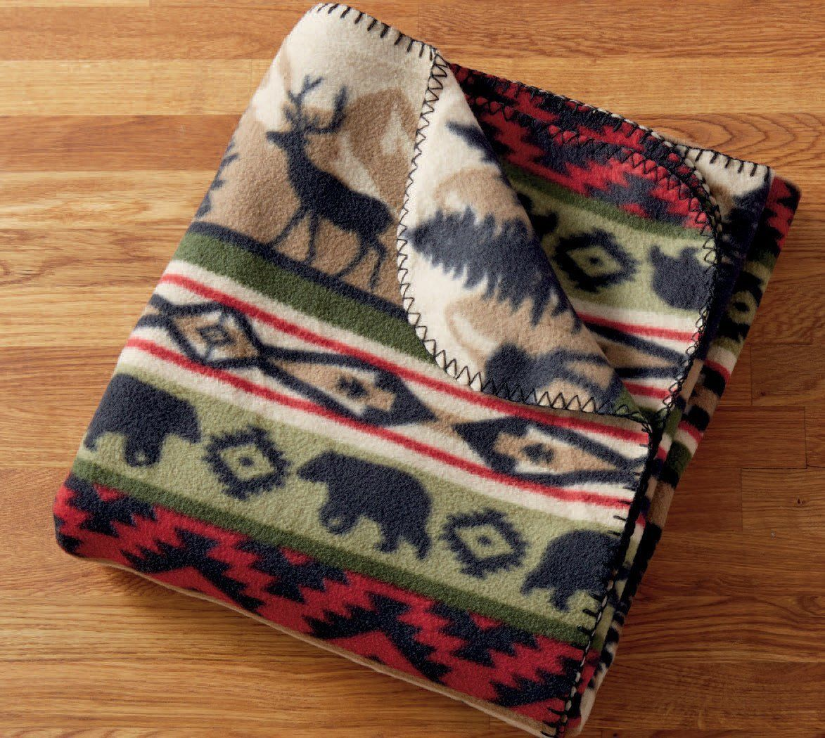 "Back Country Throw Blanket Stripe 50"" x 60"" New Bear Elk Fleece"