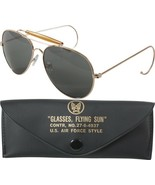 Gold Frame UV Acrylic Air Force US Style Aviators Sunglasses With Case - $12.99