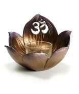 Lotus Flower Top w Om Symbol Candle Holder Ohm Aum Votive Incense Altar ... - $17.95