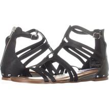Steve Madden Delta Flat Gladiator Sandals, Black, 6 US - $32.63