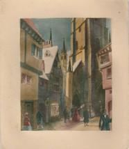 Vintage Christmas Card Victorian City Street Scene Early 1900's Illustra... - $12.86