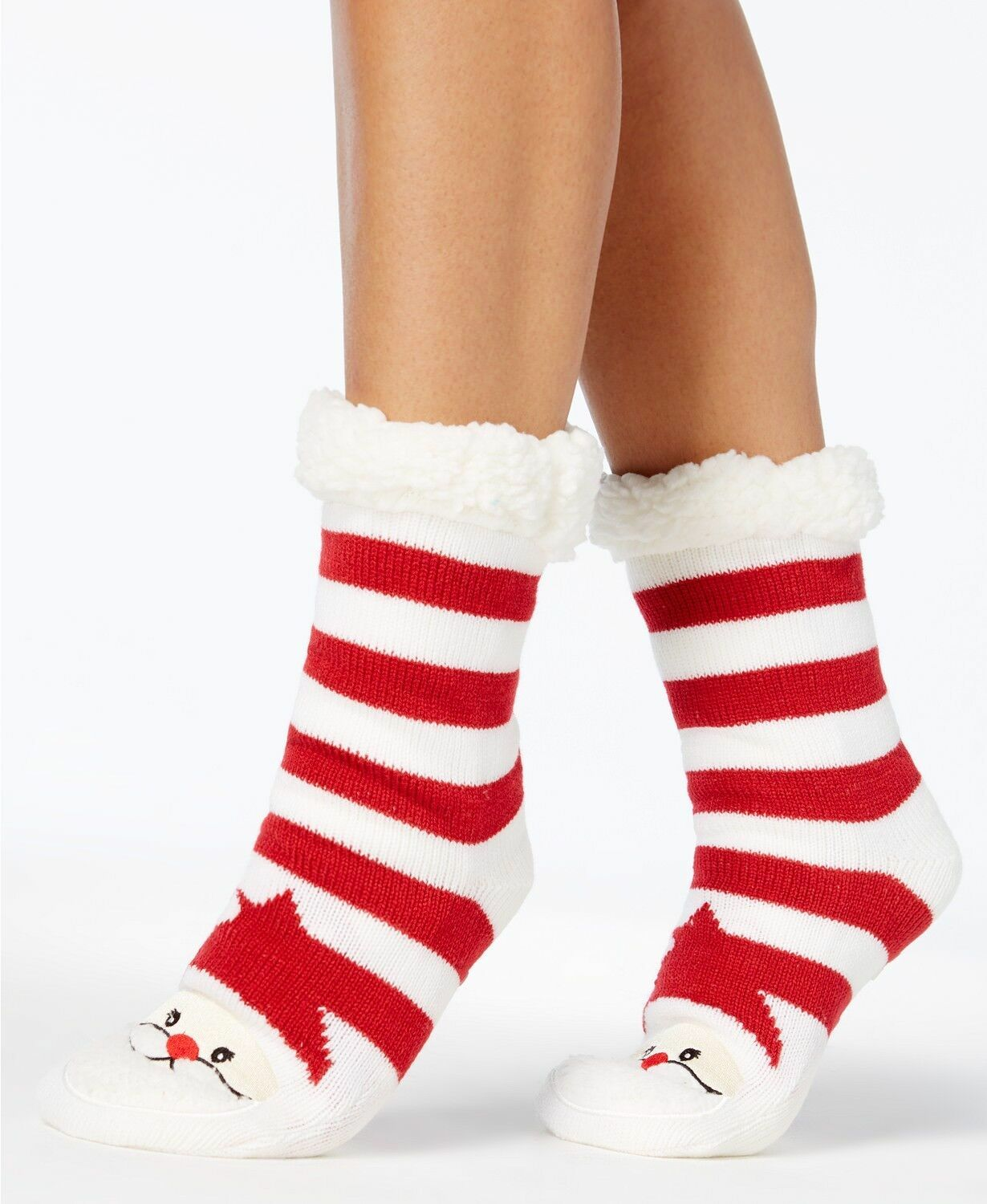 Charter Club Holiday Fleece Gripper Slipper Socks Red Striped Santa