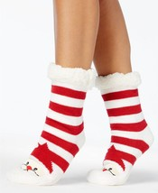 Charter Club Holiday Fleece Gripper Slipper Socks Red Striped Santa - $7.14