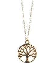 "New USA Made ECRU Metal Gold Tone Tree Pendant 16"" Necklace NWT image 1"