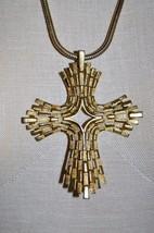 Vintage Rare CROWN TRIFARI Modernist Crucifix Cross Choker Necklace - $74.25