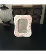 "VINTAGE CERAMIC 6.5"" x 5"" OFF WHITE Pink Flowers Curvy Shabby Chic GIRLY... - $15.99"