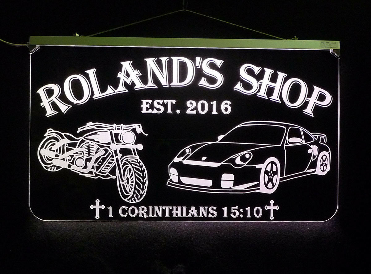 Personalized Motorcycle, Race Car LED Sign, Man Cave, Garage Sign, Gift for Dad image 5