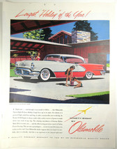 Vintage Print Ad 1956 Ninety-Eight Oldsmobile Red White Deluxe Holiday C... - $9.85