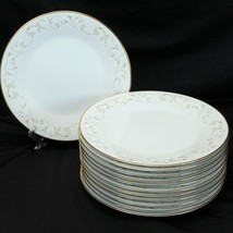 """Noritake Duetto Gold Trim Dinner Plates 10.5"""" Lot of 12 - $97.02"""