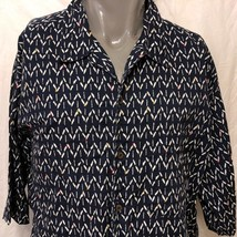 Patagonia Geometric Shapes Blue Casual Shirt Size XL Arrows Pattern Organic - $40.58