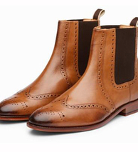 Handmade Men's Brown Leather Wing Tip Brogues Chelsea Boot image 2