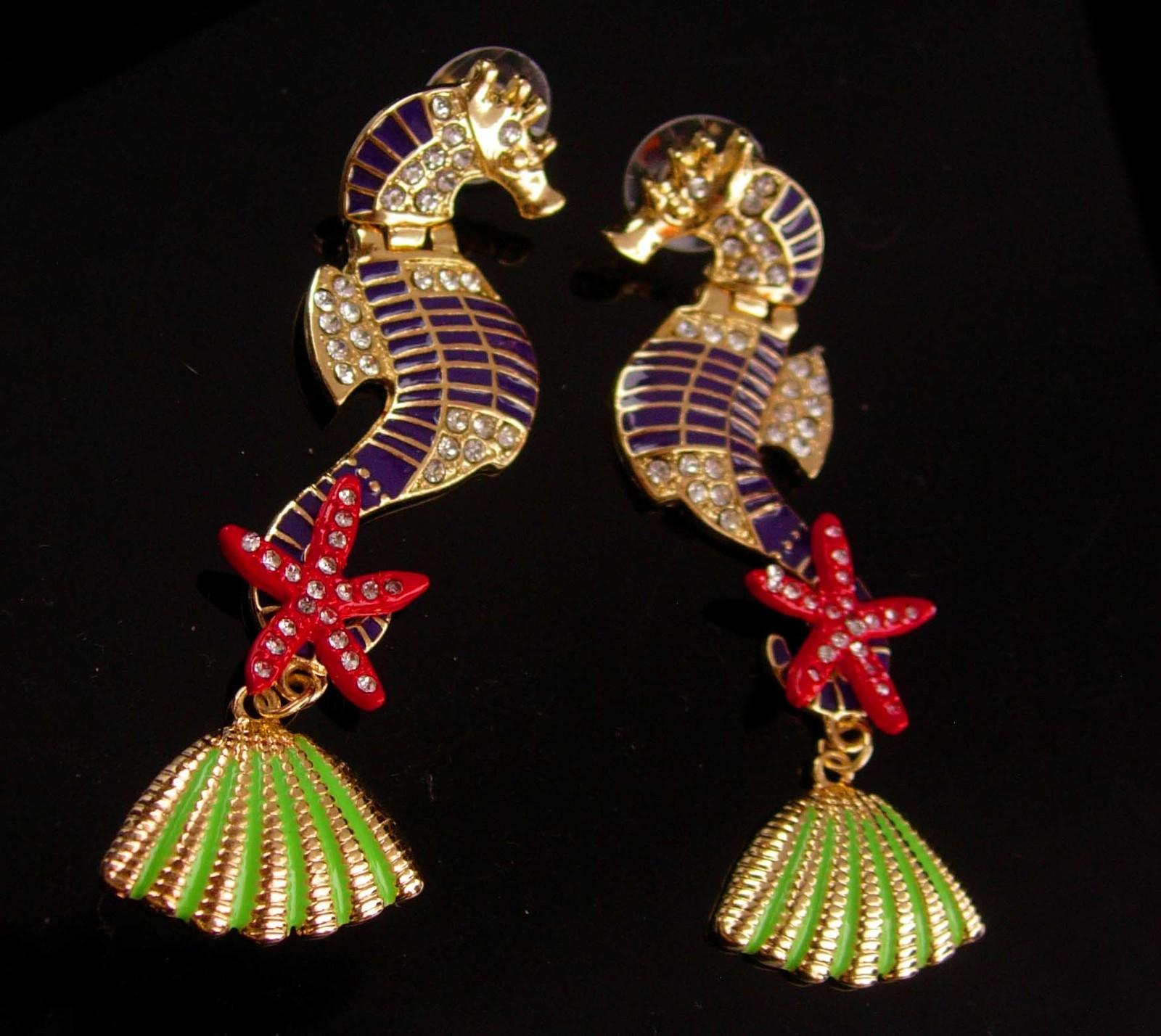 """3"""" seahorse earrings - sea goddess chandelier earrings - rhinestone pierced earr"""