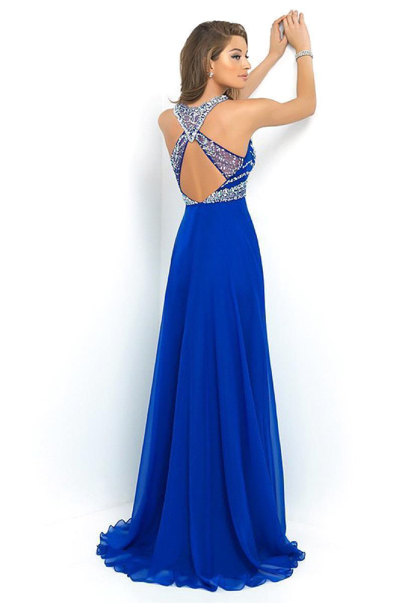 Floor Length Sexy Backless Beaded Crystal Long Prom Dresses Royal Blue Women