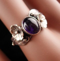 Vintage enchanted feather flower ring - Mystical amethyst - Sterling 9 1/4 - $165.00