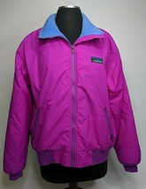 VTG 90s LL Bean Womens Warm Up Jacket Medium Purple Nylon Fleece Lined Blue - $49.50