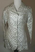 70s Ronda Roy Jacket Sz S 2 Silver Lame Dagger Collar Sparkly Evening Co... - $31.66