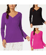 New XS CHARTER CLUB Black Soft Cotton Pajama Top Long Sleeve Henley Wome... - $8.99