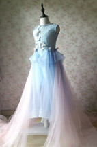 Light Blue Lace Flower Girl Dress Short Pencil Blue Birthday Party Dresses NWT image 10