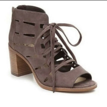 VINCE CAMUTO Tressa Sandals Heels Shoes Sz 8.5 Taupe Brown Suede Leather. - $37.39