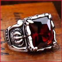 Ruby Red Emerald Cut AAAA Zircon Royal Kings Crown Mens Titainium Ring