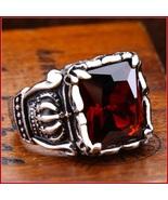Ruby Red Emerald Cut AAAA Zircon Royal Kings Crown Mens Titainium Ring - $89.95