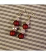 Handmade Red and Cream Christmas Dangle Earrings - $9.99