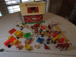 Vintage Fisher Price farmhouse Farm people chickens dog horses barn trac... - $98.99