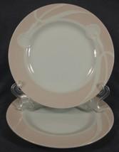 Mikasa Classic Flair Peach LDB01 Salad Plates Lot of 2 White Calla Lilies - $21.95