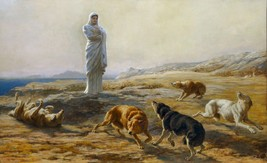 Pallas Athena and the Herdman's Dogs by Briton Riviere Old Masters 10x16 Print - $29.69