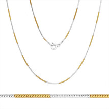 1mm Solid .925 Sterling Silver 14k Yellow Gold Snake Link Italian Chain Necklace - $26.71+