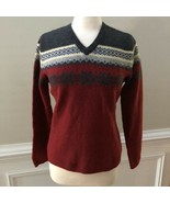 Vintage Gap Womens Red Lambswool Fair Isle Sweater Size L - $37.59