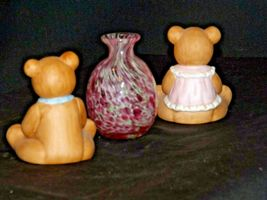 HOMCO Bears and a blown glass Vase AA-191708 Vintage Collectible 3 Pieces image 5