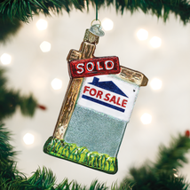 OLD WORLD CHRISTMAS REALTY SIGN REAL ESTATE GLASS CHRISTMAS ORNAMENT 36203 - $12.88