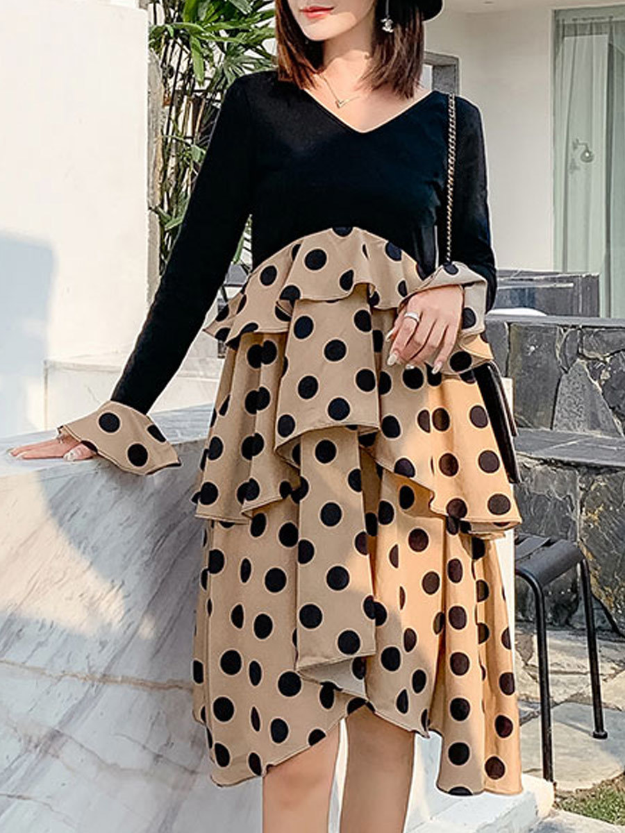 Maternity's Dress V Neck Polka Dots Pattern Patchwork Design Dress image 3