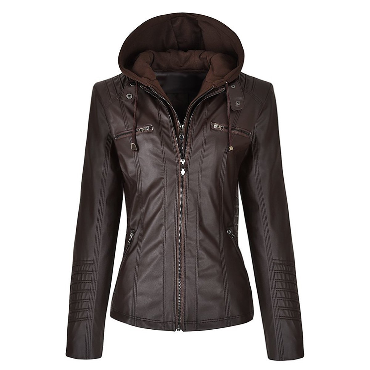 Women biker detachable zipper hoodie slim fit faux leather jacket
