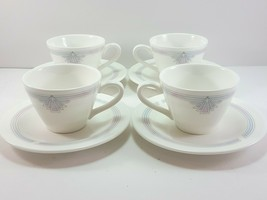 Wedgwood Talisman Demitasse Cups and Saucers Set of 4 Bone China Pink Blue - $75.24