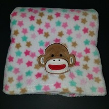 Baby Starters Sock Monkey Fleece Baby Blanket Lovey Brown Pink Green Stars Soft - $25.69